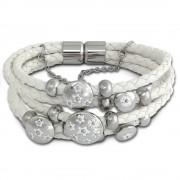 Amello Leder Armband weiß Blumen 21cm mit Edelstahl Magnet Verschluss LAQ001W1