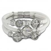 Amello Nappa-Leder Armband weiß Kleeblatt Edelstahl Magnet Verschluss LAQ005W1