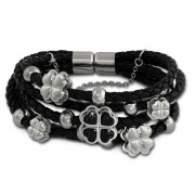 Amello Leder Armband schwarz Herz-Blume Zirkona schwarz Edelstahl LAQ007S9