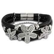 Amello Nappa-Leder Armband schwarz Blüte Edelstahl Magnet Verschluss LAQ009S1