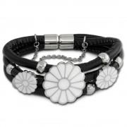 Amello Nappa-Leder Armband schwarz Blumen weiß Edelstahl Verschluss LAQ021S9
