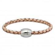 SilberDream Leder Armband 19cm natur mit Edelstahl Verschluss LS1491
