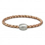 SilberDream Leder Armband 21cm natur mit Edelstahl Verschluss LS1492