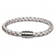 SilberDream Leder Armband weiß 19cm mit Edelstahl Verschluss LS1521