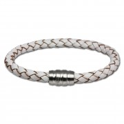 SilberDream Leder Armband weiß 22cm mit Edelstahl Verschluss LS1523