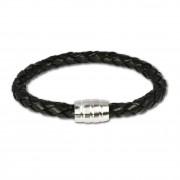 SilberDream Leder Armband schwarz mit Edelstahl Verschluss LS1803