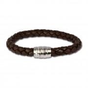 SilberDream Leder Armband braun mit Edelstahl Verschluss LS1813