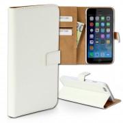 Handyhülle iPhone 6 Plus weiß Kartenfächer Kunstleder DrachenLeder OME103K