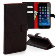 Handyhülle iPhone 6 Plus rot Kartenfächer Kunstleder DrachenLeder OME105R