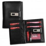 Geldbörse Leder schwarz XL Brieftasche Portemonnaie Old River OPD701F