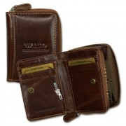 WildThingsOnly Geldbörse Leder braun kleines Portemonnaie Minibörse OPJ111N