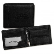 Geldbörse Leder schwarz Portemonnaie Querformat Börse WildThingsOnly OPJ114S