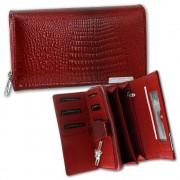 Geldbörse Leder rot Portemonnaie Querformat Croco Damen Brieftasche OPJ712R