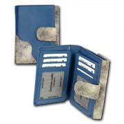 Portemonnaie Hochformat Leder blau, grau Damen Geldbörse DrachenLeder OPS700W