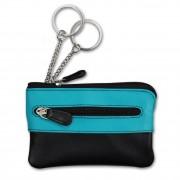 Schlüsseltasche Leder schwarz, türkis Etui Mini-Geldbörse DrachenLeder OPS905T