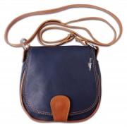 Umhängetasche Damen Handtasche Satteltasche Leder blau DrachenLeder OTF103B