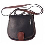 Florence Umhängetasche Damen Handtasche Satteltasche Leder schwarzbraun OTF103F