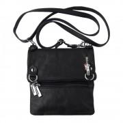 Umhängetasche, Abendtasche Leder schwarz Damen Handtasche DrachenLeder OTF107S