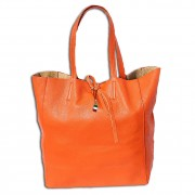 Florence ital. Shopper Echtleder Damen Schultertasche Business orange OTF112O