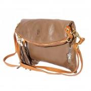 Umhängetasche Clutch Damen Tasche Wristlet Leder braun DrachenLeder OTF802C