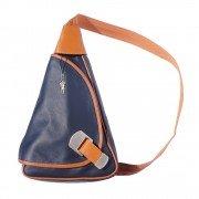 Rucksack, Schultertasche Leder blau-braun Rucksacktasche DrachenLeder OTF600B