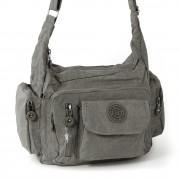 Schultertasche Nylon grau Sportliche Damen Umhängetasche Bag Street OTJ204K