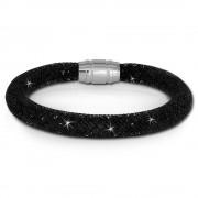 SilberDream Glitzerarmband Minikristalle schwarz 18cm Armband Damen SDA050S9