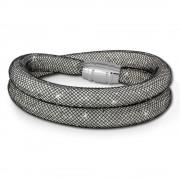 SilberDream Glitzerarmband Minikristalle schwarz/weiß Doppelarmband SDA051K0