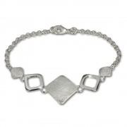 SilberDream Armband Karo matt/glänzend 925 Sterling Silber 19cm SDA409