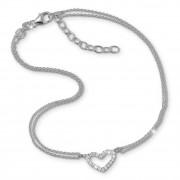 SilberDream Fußkette Herz Zirkonia weiß 23cm Damenschmuck 925er Silber SDF0383J