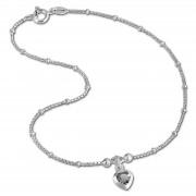 SilberDream Fußkette Herz 23cm Zirkonia weiß Silber SDF2023W
