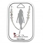 SilberDream Fußkette Raute Zirkonia weiß 25cm 925 Silber Damen SDF5095W