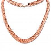 SilberDream Collier Kette Geflecht Rose vergoldet Damen 45cm SDK22045E