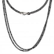 SilberDream Collier Kette Kugel Blatt schwarz 925 Silber Damen 45cm SDK24245S