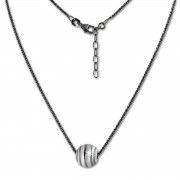 SilberDream Kette Kugelspirale 42cm - 47cm schwarz 925er Silber Damen SDK29342S