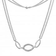 SilberDream Kette Oval Zirkonia weiß 925er Silber 45cm Halskette SDK425W