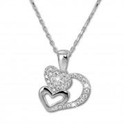 SilberDream Halskette mit Anhänger Herzen Zirkonia 44,5cm 925er Silber SDK4983W