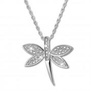 SilberDream Halskette mit Anhänger Libelle Zirkonia 44,5cm 925er Silber SDK4984W