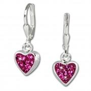 Teenie-Weenie Kinder Ohrhänger Herzchen Zirkonia pink 925er Ohrring SDO016P
