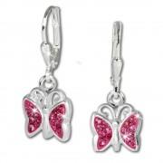 SilberDream Kinder Ohrhänger Schmetterling Zirkonia rosa 925er Silber SDO019A