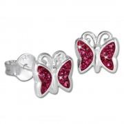 SilberDream Kinder Ohrringe Schmetterling Zirkonia pink 925er SDO094P