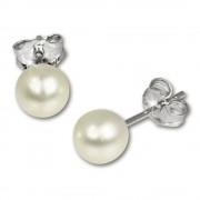 SilberDream Ohrstecker Süßwasser Perle 5mm weiß 925er Silber SDO105W