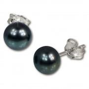 SilberDream Ohrstecker Süßwasser Perle schwarz 7mm 925 Silber SDO107S
