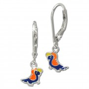 Kinder Ohrring bunter Papagei Silber Ohrhänger Kinderschmuck TW SDO206F