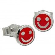 Kinder Ohrring Smiley rot Silber Ohrstecker Kinderschmuck TW SDO208R
