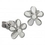Kinder Ohrring Blume weiß Silber Ohrstecker Kinderschmuck TW SDO209W