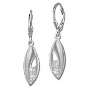 SilberDream Ohrhänger Blatt Zirkonia weiß 925 Silber Damen Ohrring SDO355M