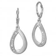 SilberDream Ohrhänger Tropfen Zirkonia weiß 925 Silber Ohrring SDO360M