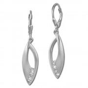SilberDream Ohrhänger Blätter Zirkonia weiß 925 Silber Damen Ohrring SDO366M