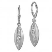 SilberDream Ohrhänger Oval Zirkonia weiß 925 Silber Ohrring SDO369M
